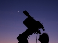 Telescope, Venus, Jupiter and Moon and observer small