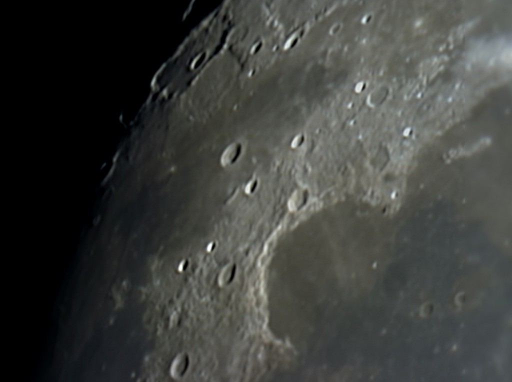 Sinus Iridium at the NW corner of the Moon