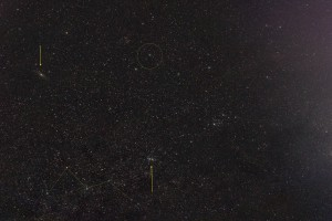 Casseopeia, Andromeda Galaxy M31, Lovejoy (circled) and Perseus (on the right) in the moonlight