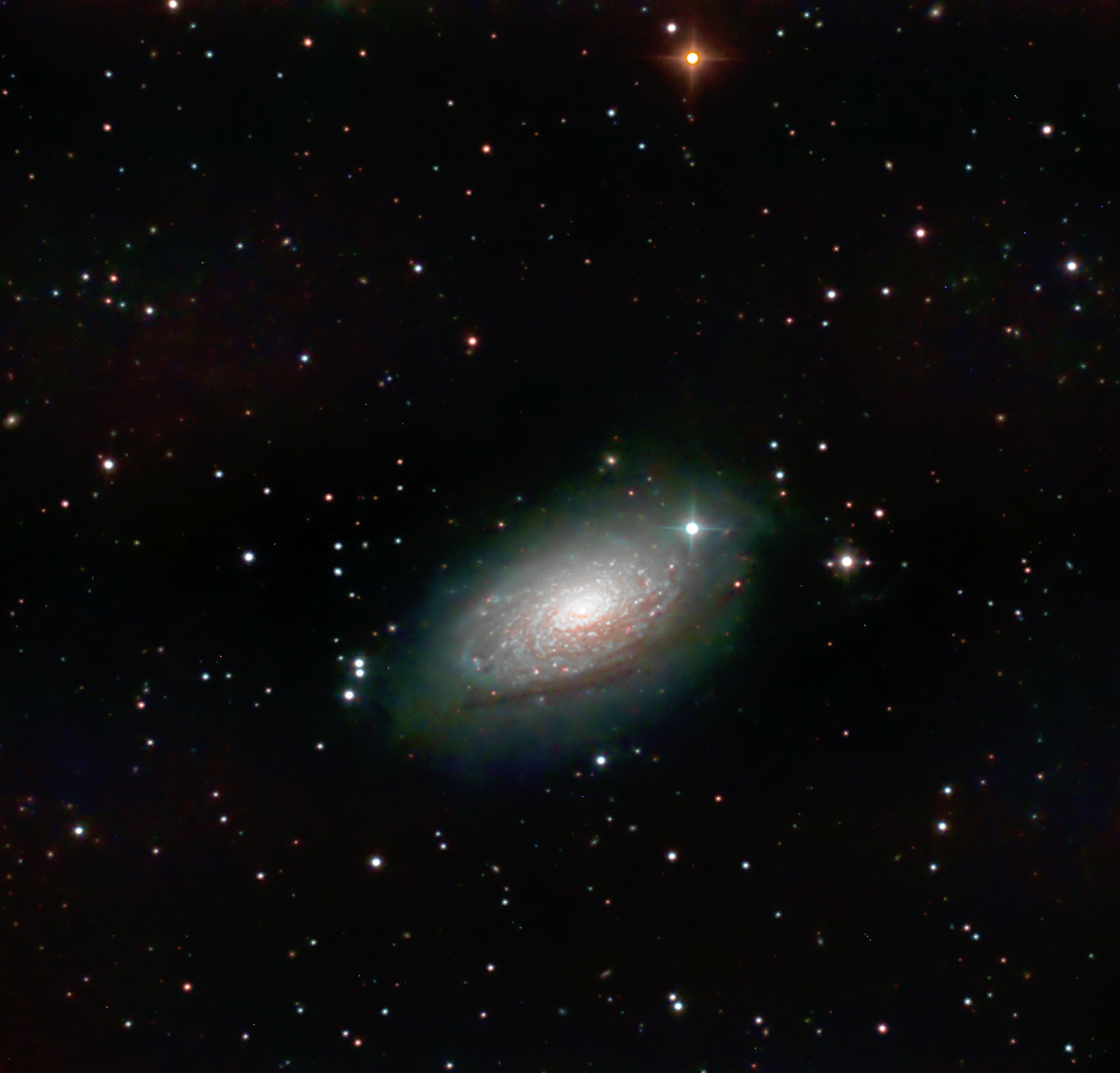 M104 The Sombrero Galaxy A bit of a challenge as only 20° above the horizon and directly over central Kendal. M63 The Sunflower Galaxy. Imaged from Kendal