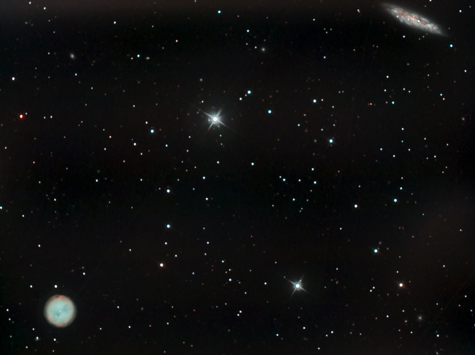 M97 the Owl Nebula and M108. Imaged from Kendal