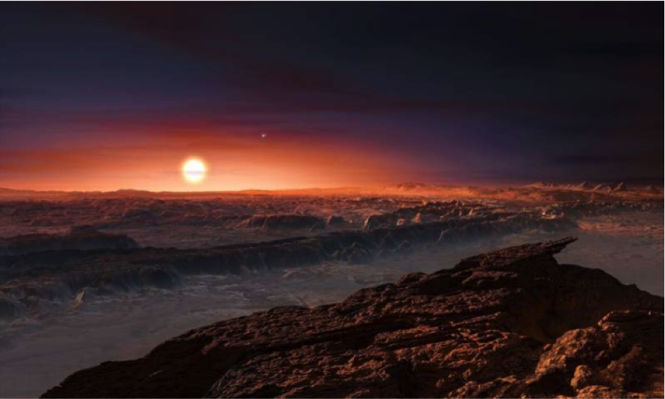 This is an artists impression of an Earth sized planet orbiting our closest star Proxima b which is around four light years from the sun.