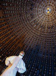 The Borexino experiment, Gran Sasso, Italy. A researcher stands in a spherical vessel that 278 tonnes of liquid hydrocarbons Credit: Volker Steger/SPL