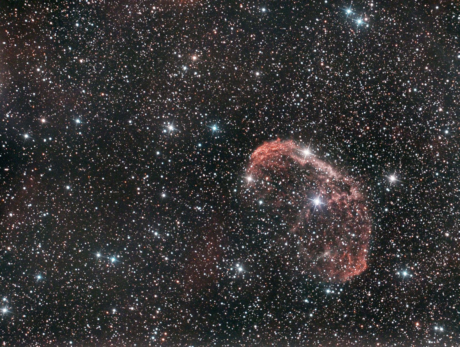 The Crescent Nebula in Cygnus powered by a Wolf-Rayet star. Imaged from Kendal.