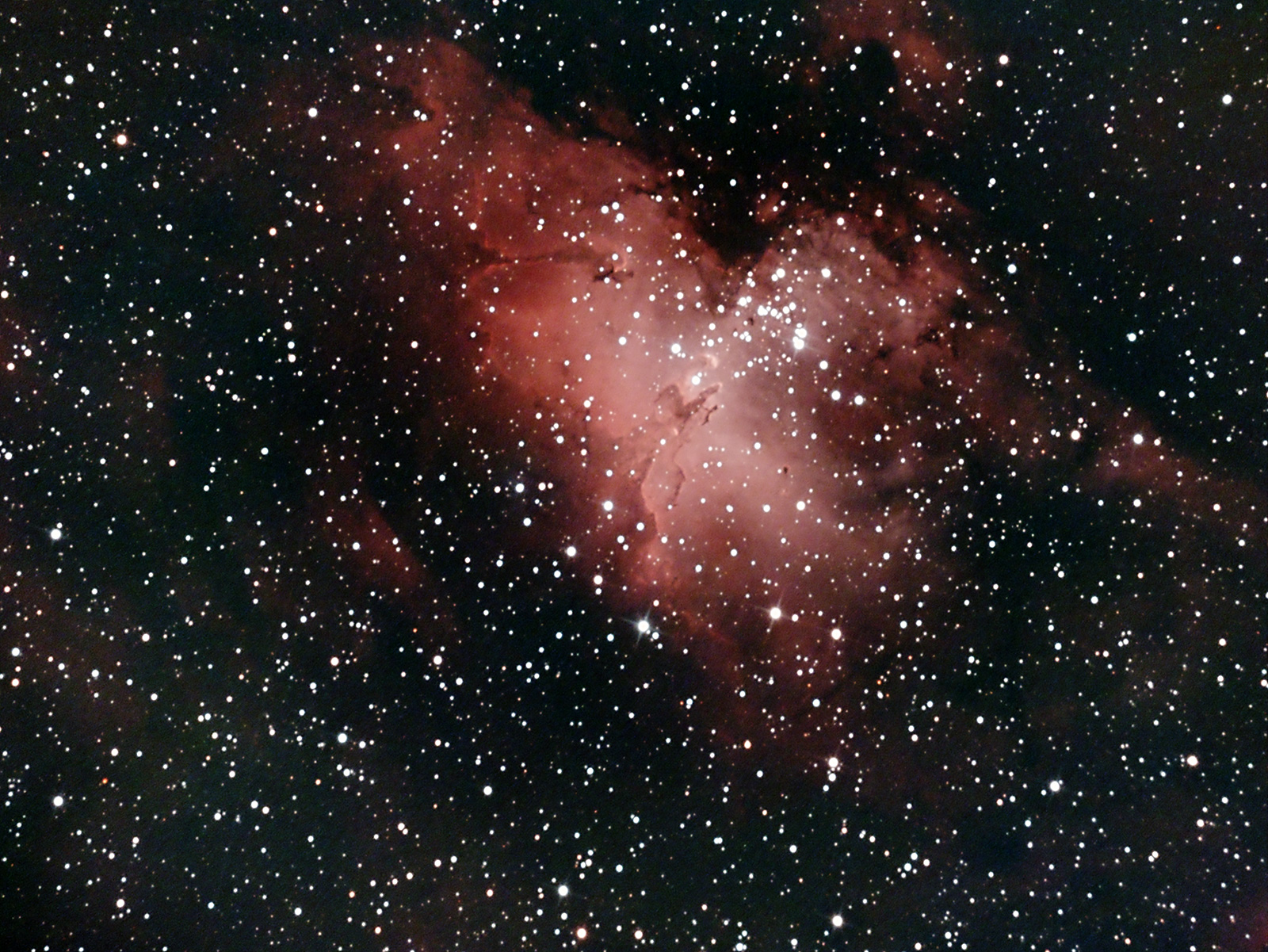 The Eagle Nebula, M16 and the Pillars of Creation. A real challenge as always less than 20 degrees maximum altitude from my backyard and directly over central Kendal on 31st May.