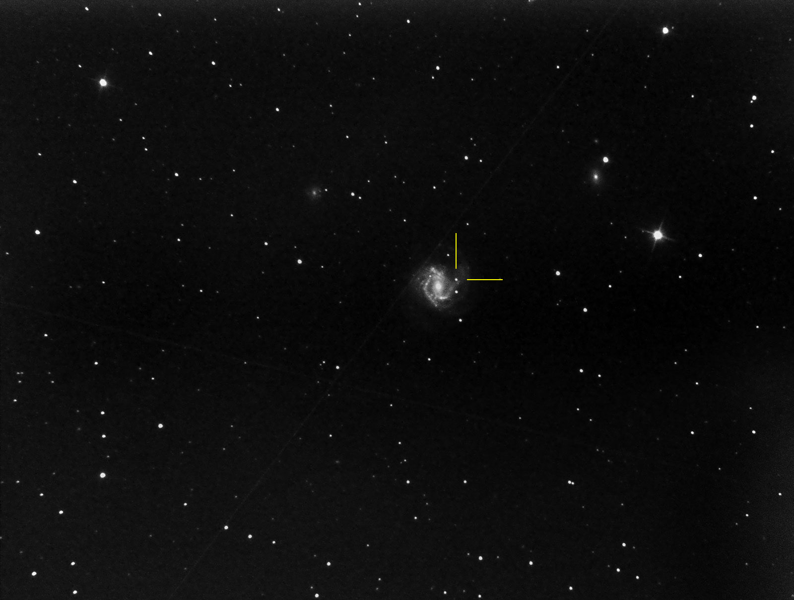 M61 in Virgo with supernova SN2020jfo indicated on May13th. This supernova was first detected May 6 2020, so a week earlier. Imaged from Kendal.