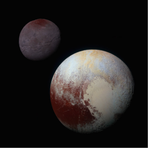 Montage of enhanced colour images of Pluto (bottom left) and Charon, from the New Horizons spacecraft. (NASA/JHUAPL/SwRI)