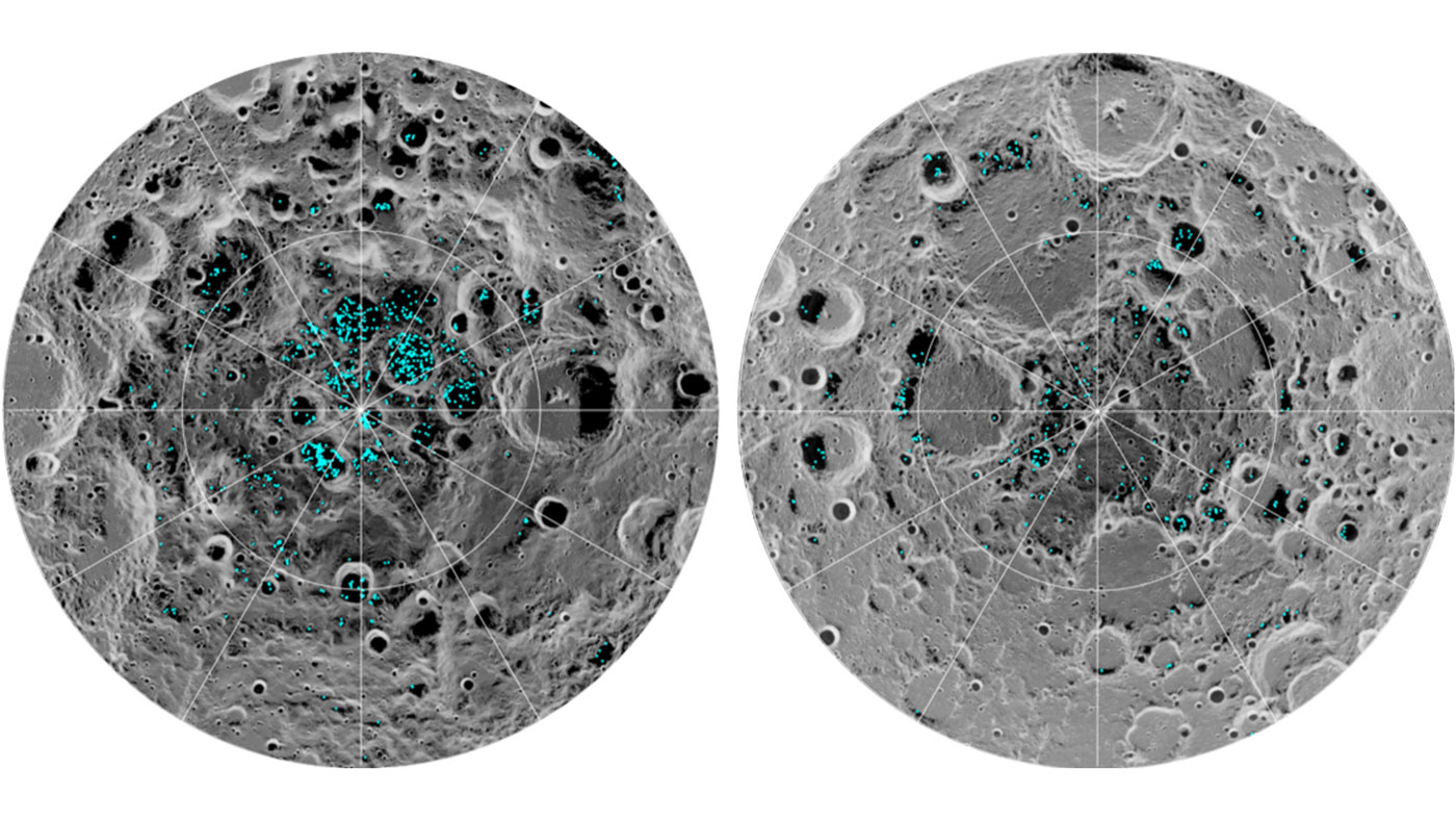 The distribution of surface ice at the Moon's south pole (left) and north pole (right). Blue represents the ice locations, plotted over an image of the lunar surface. The darker gray corresponds to colder areas and the lighter grey warmer areas.