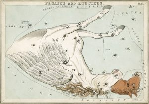 The usual fanciful depiction of Pegasus and Equuleus, the foal. This comes from Urania's Mirror, a series of constellation cards from the early 1800's. Credit: National Museums of Scotland collection.