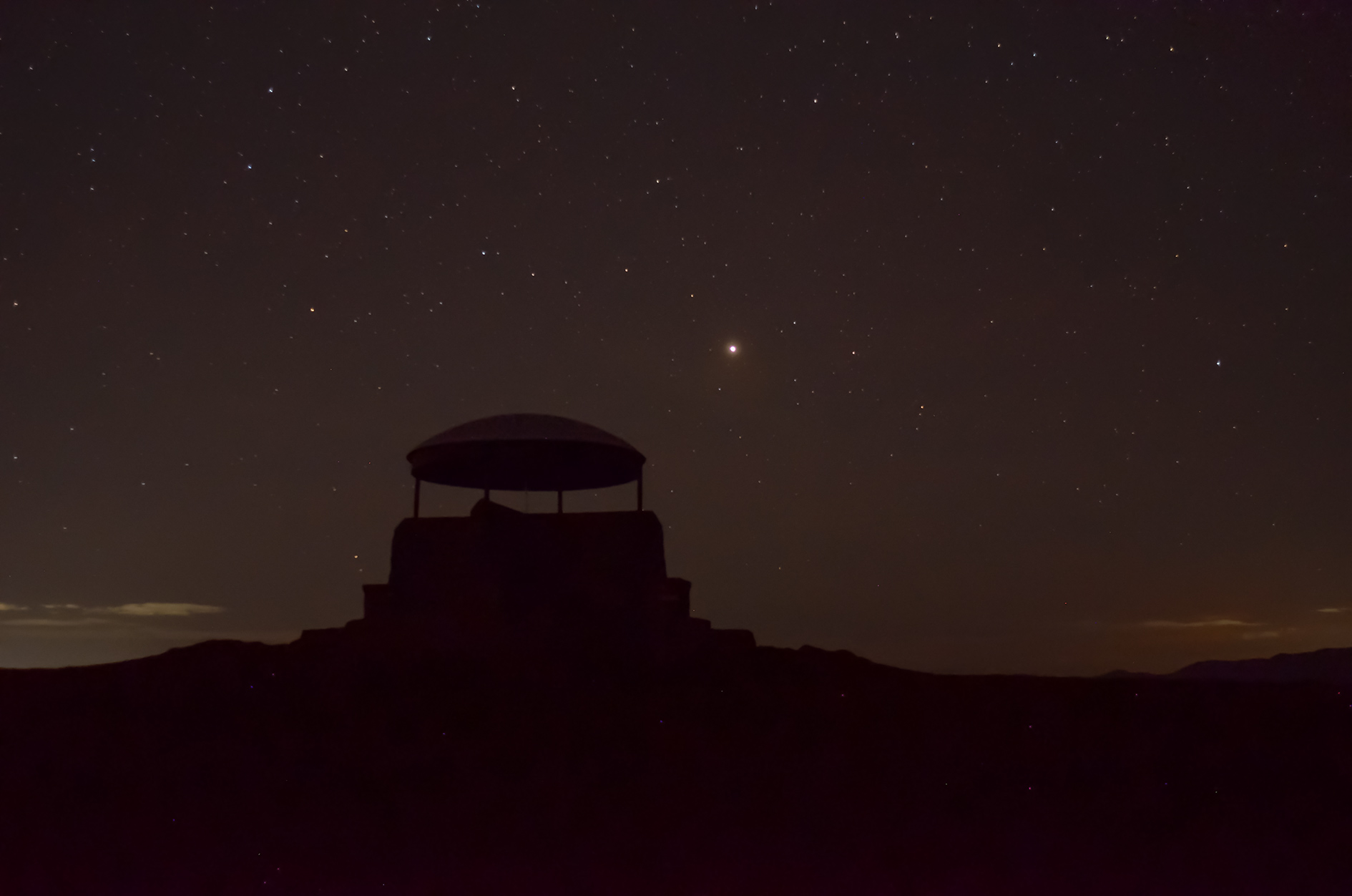 Mars and the mushroom, Scout Scar. 15th October, 05:50hrs, 24mm, 5sec, f2.8, iso 1600